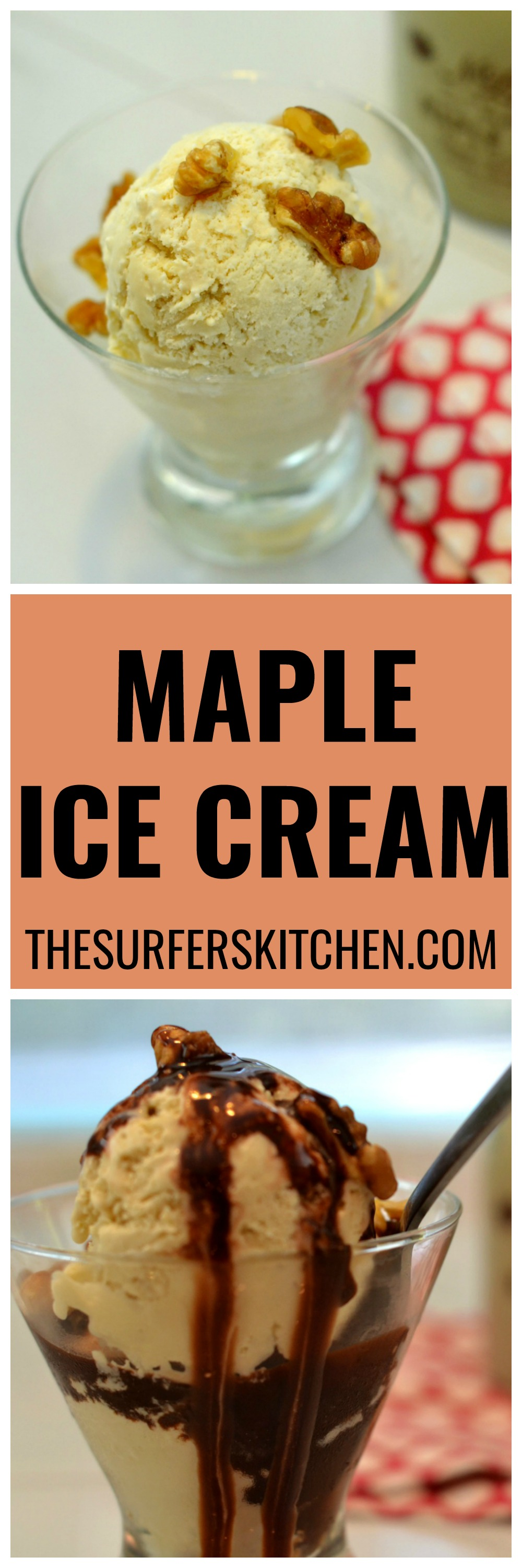 Maple Ice Cream made with heavy cream, milk, maple syrup and salt. Such a simple recipe for such a flavorful dessert. | www.thesurferskitchen.com