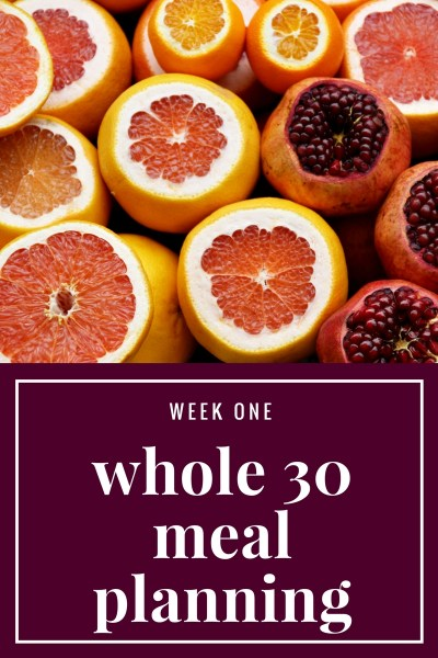 Whole 30: Week 1 Meal Planning and Preparation