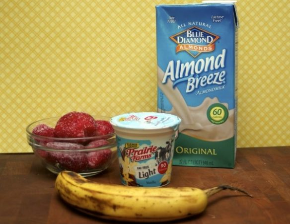 A strawberry banana smoothie recipe made with yogurt and almond milk. Healthy and kids love it!