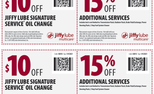 Jiffy lube oil change student discount