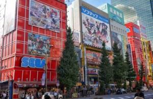 Speelhallen met daarnaast Manga en Figure shops. Foto door Romy.