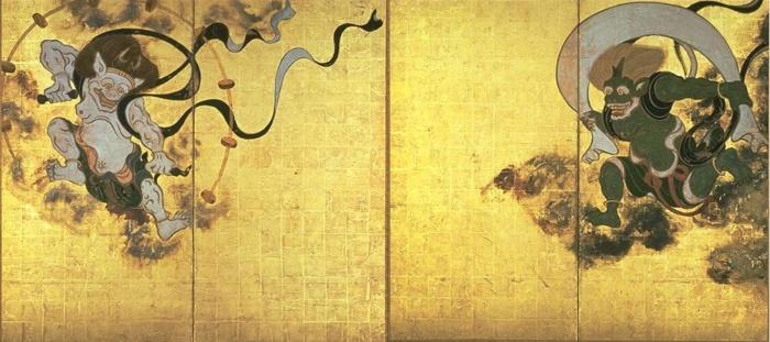 Raijin & Raiju in hun kami-vorm. Afbeelding via Wikipedia.