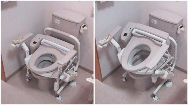 """Dit Japanse toilet geeft oudere een """"zetje"""" omhoog, zodat ze makkelijk met hun stijve knieën van de bril af kunnen komen. Image via wikipedia"""