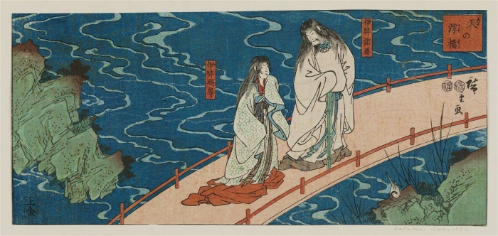 Izanagi en Izanami. Afbeelding via DataUkiyoE.
