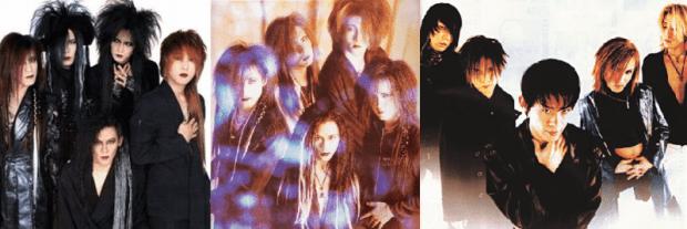Luna Sea in 1991, 1992, en 1996. Foto via Visual Kei Wiki.