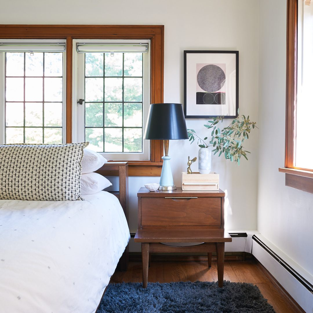 mid century nightstand casement windows master bedroom