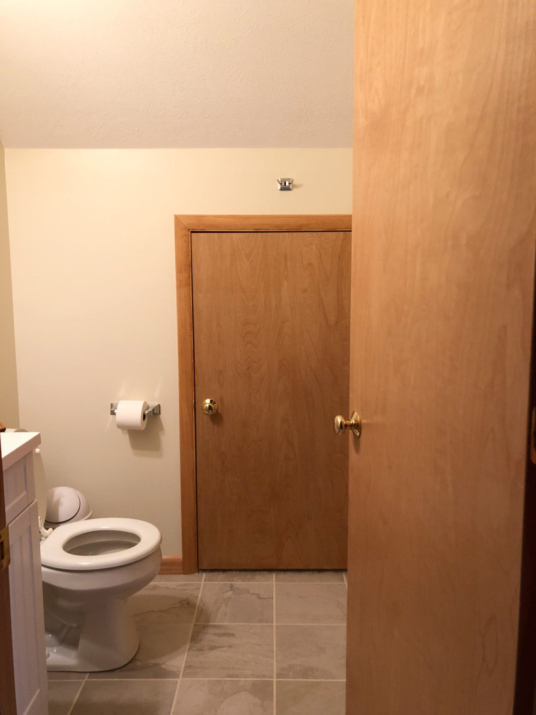 Small powder room with tiny door