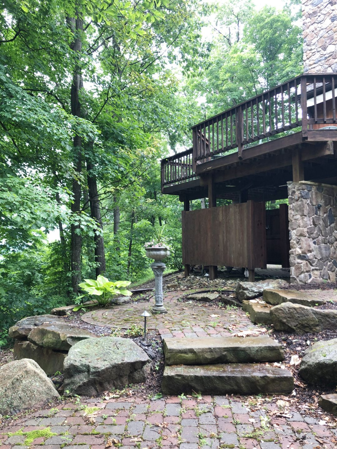 Cabin exterior hardscaping