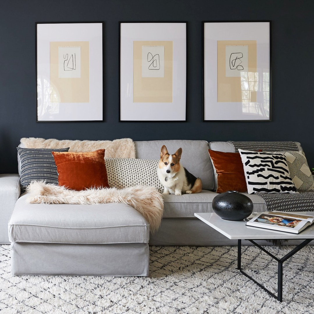 diy large scale art corgi on couch living room