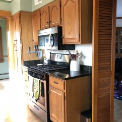 Kitchen Facelift Weight Scale Our Two Weekend 600 The Sweet Beast Honey Oak Cabinets