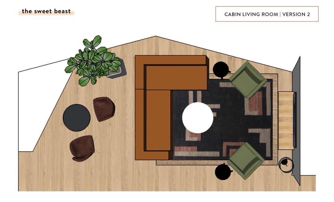 Cabin Living Room SketchUp Layout