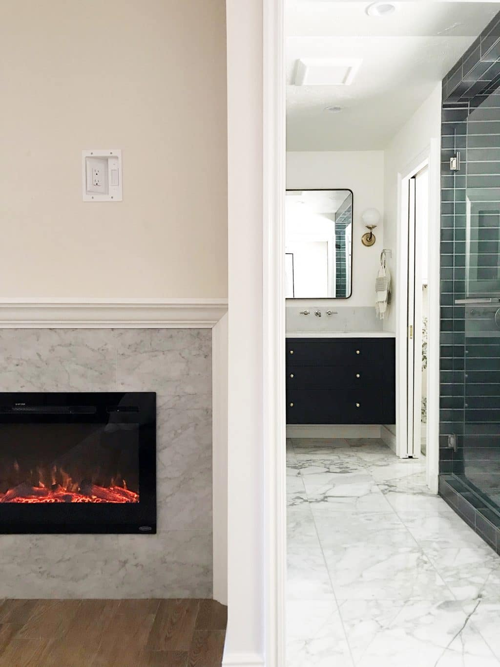 modern DIY recessed electric fireplace