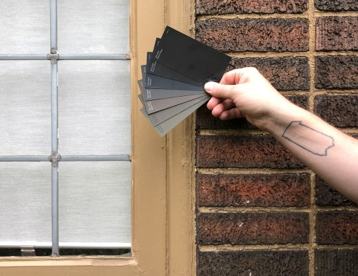 Sherwin Williams exterior paint swatches with brick.