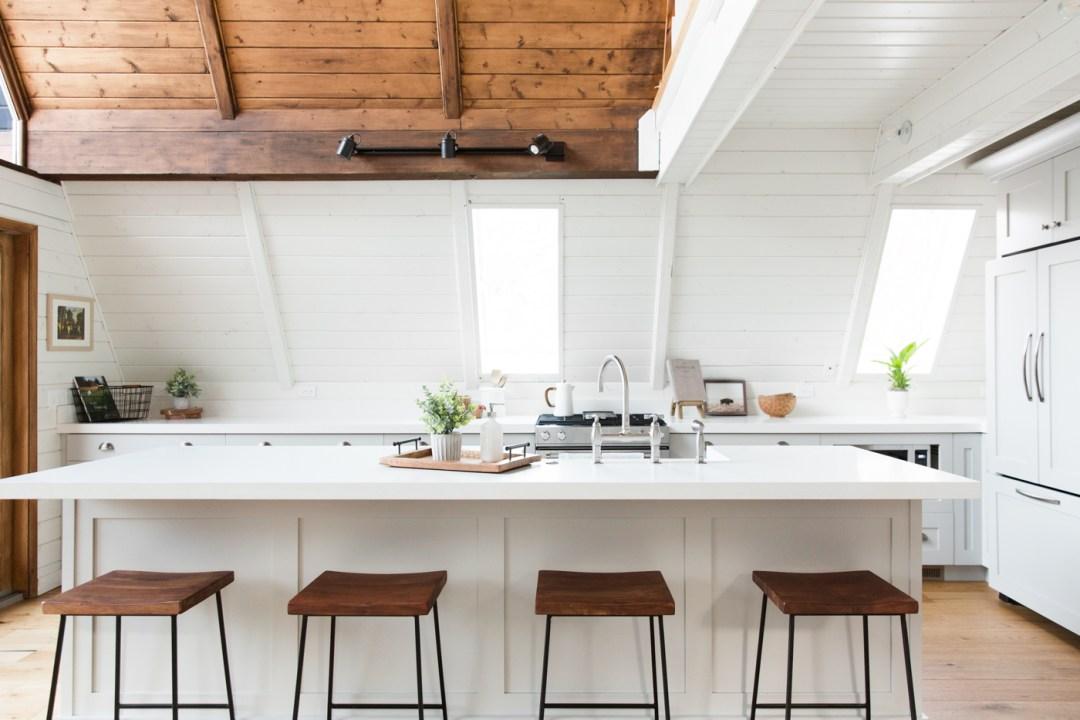 White a-frame kitchen