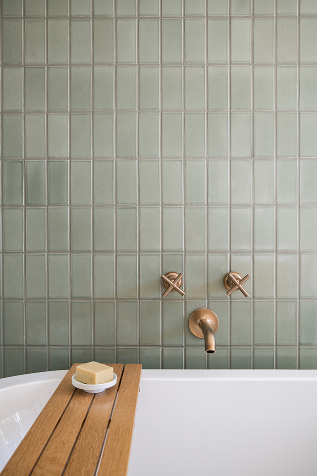 Stacked Green Tile in Modern Bath