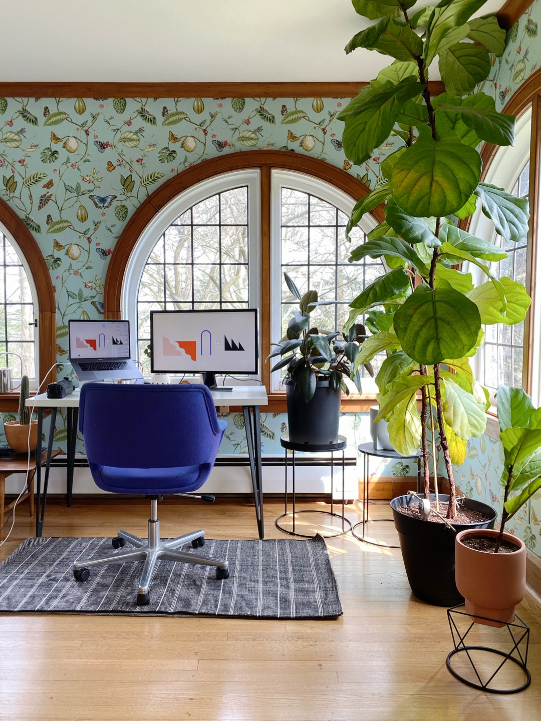 Home office with botanical wallpaper