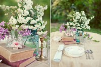 wedding-table-setting-ideas-vintage-books-blue-mason-jar ...
