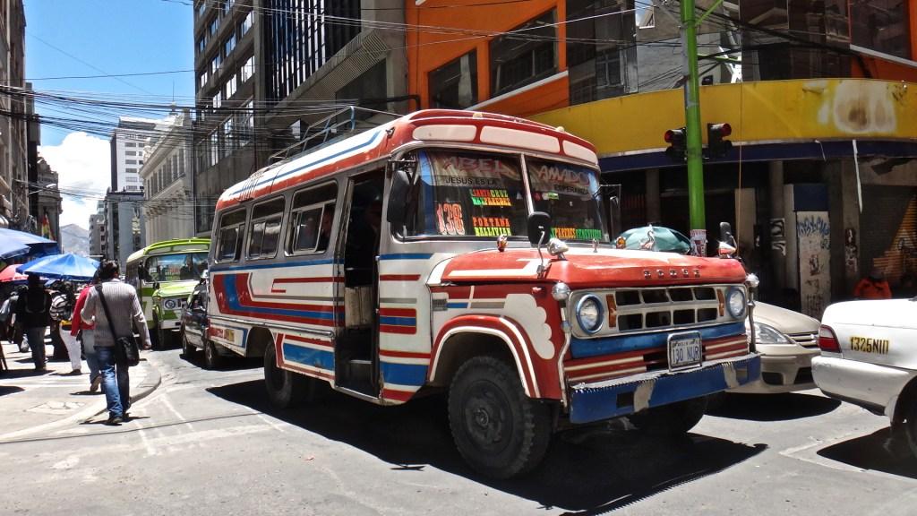 Microbus in La Paz, Bolivia