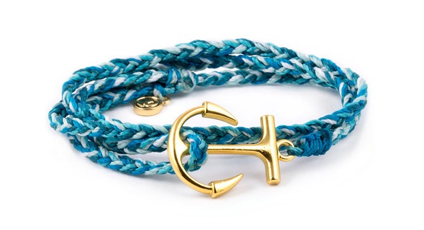 Gold Anchor Aqua Pura Vida Bracelets