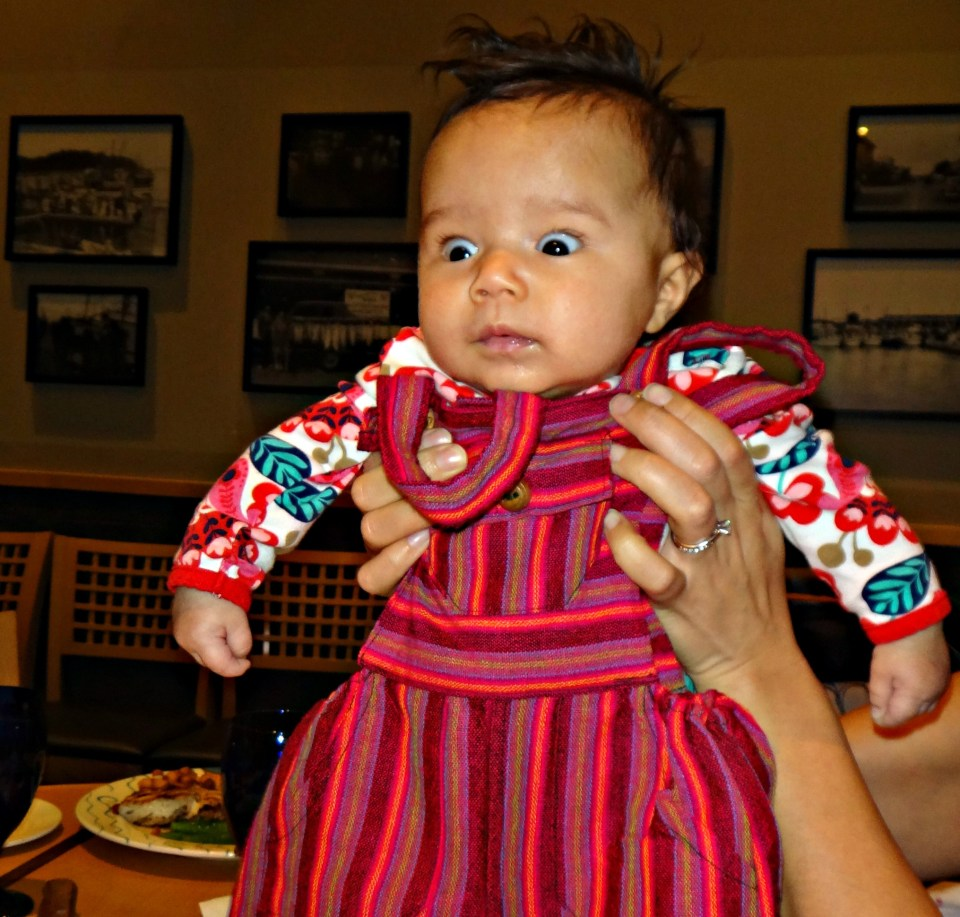 My cousin's baby Alex and her new overalls from Ecuador