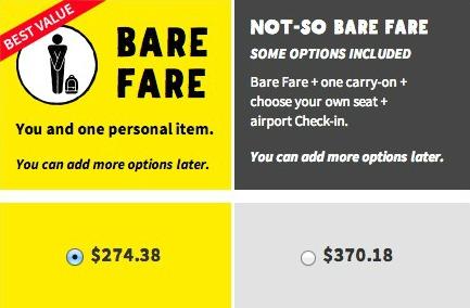 Spirit Airlines Bare Fare