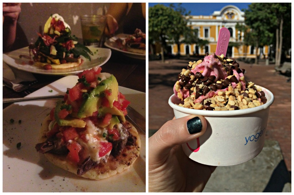 Arepas and frozen yogurt in Santa Marta, Colombia