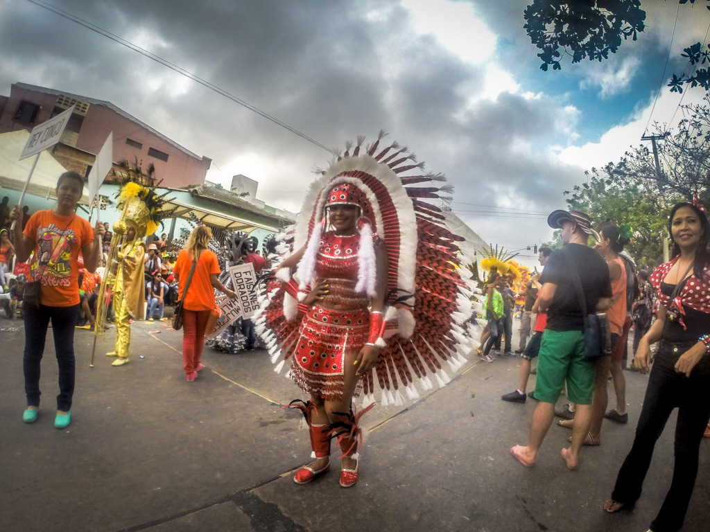 Colorful costumes at Carnival in Barranquilla, Colombia
