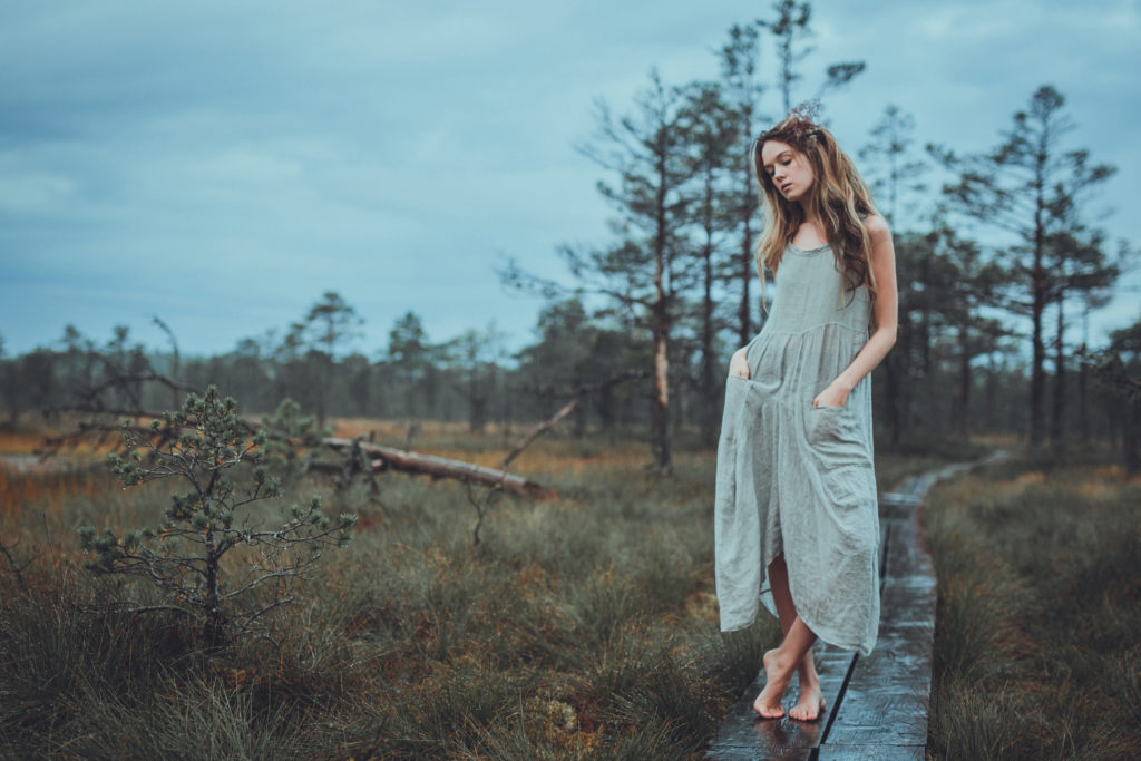 Beautiful girl at Estonian bog