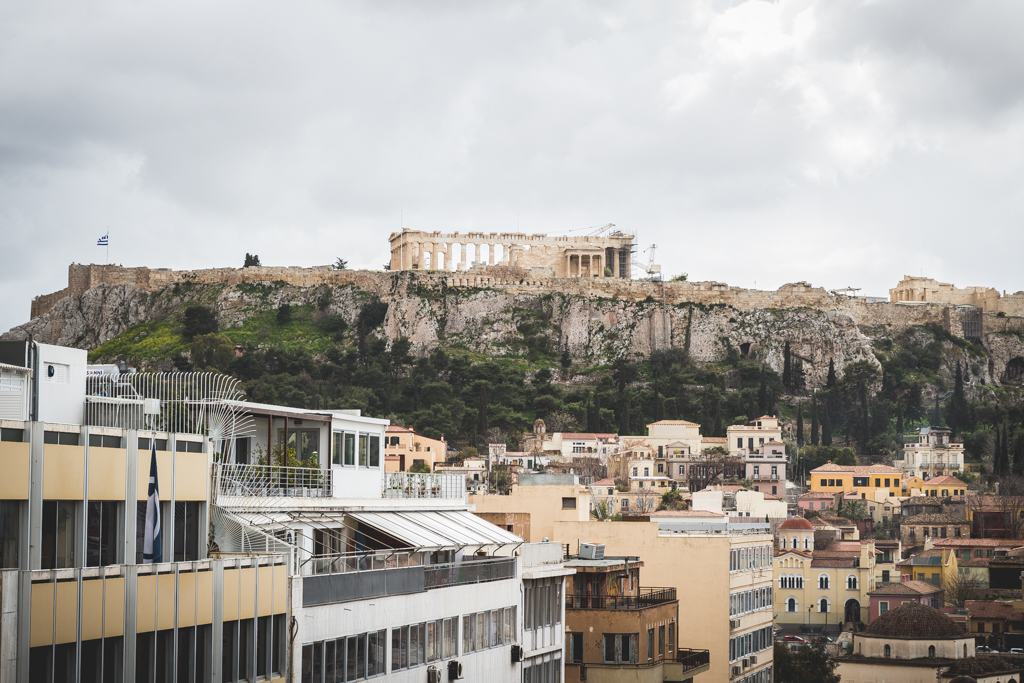 View of the Acropolis from Attalos Hotel in Athens