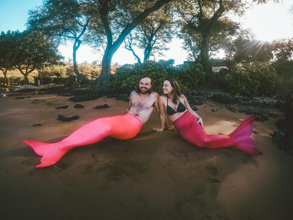Becoming a mermaid on a Maui mermaid tour!