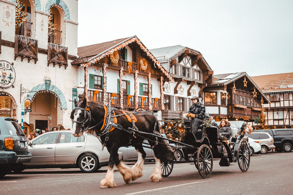 Ride in a horse-drawn carriage in Leavenworth, Washington