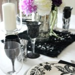 Ebony and Ivory Tablescape with a Pop of Purple