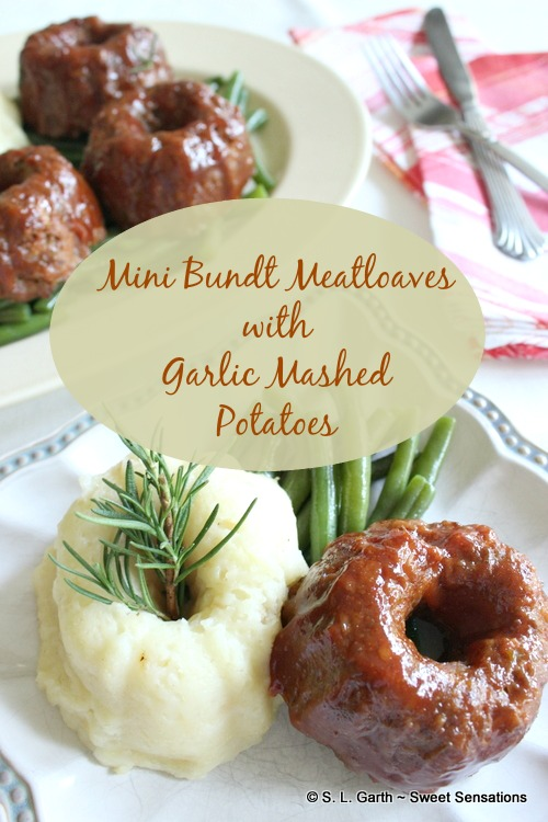 Up your presentation game by serving Mini Bundt Meatloaves with Mini Bundt Garlic Mashed Potatoes.