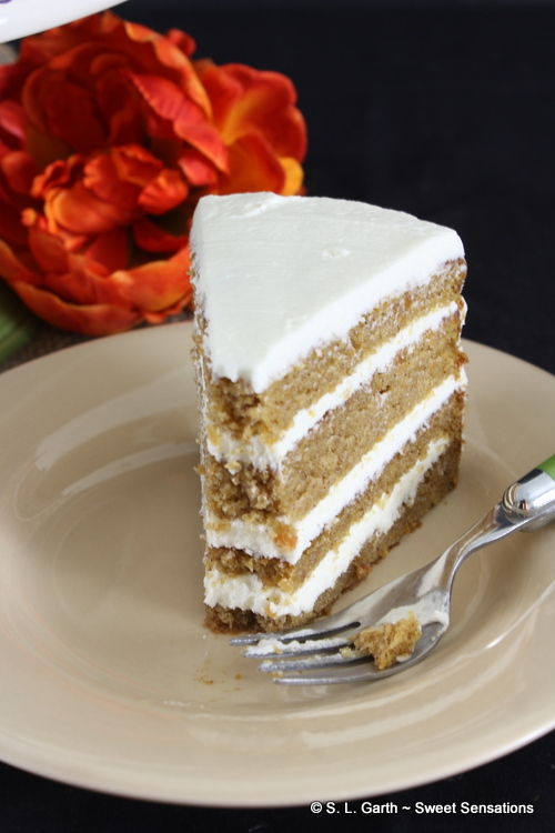 This Sweet Potato Layer Cake with Creamy Goat Cheese Frosting is very moist and the goat cheese frosting balances the sweetness of the cake.