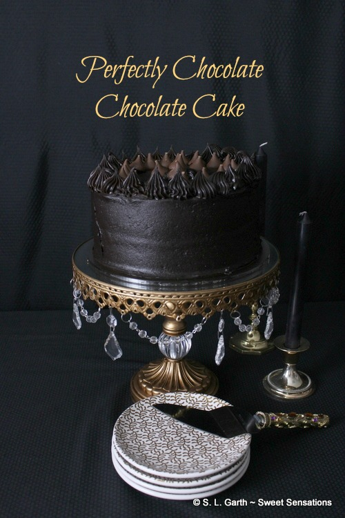 The layers of Hershey's Perfectly Chocolate Chocolate Cake are tender and the frosting is velvety smooth. The cocoa used in this recipe is dark and it's what gives this cake it's intense chocolate flavor and beautiful color.