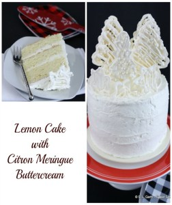 This Lemon Cake with Citron Italian Meringue Buttercream Cake is topped with White Chocolate Trees decorated with Sugar Pearls.