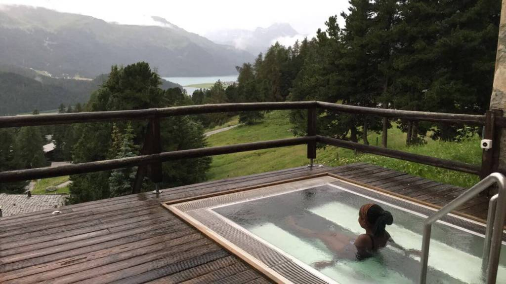 girl sitting in jacuzzi