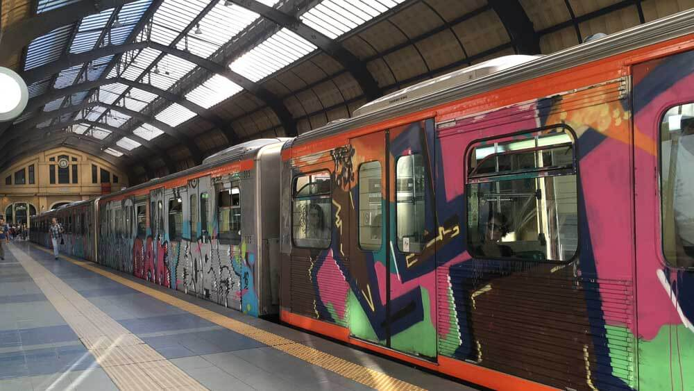 Graffiti on the Trains in Athens