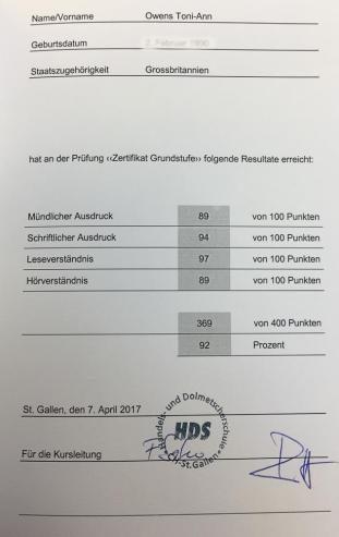 HDS Zertifikat Stufe A
