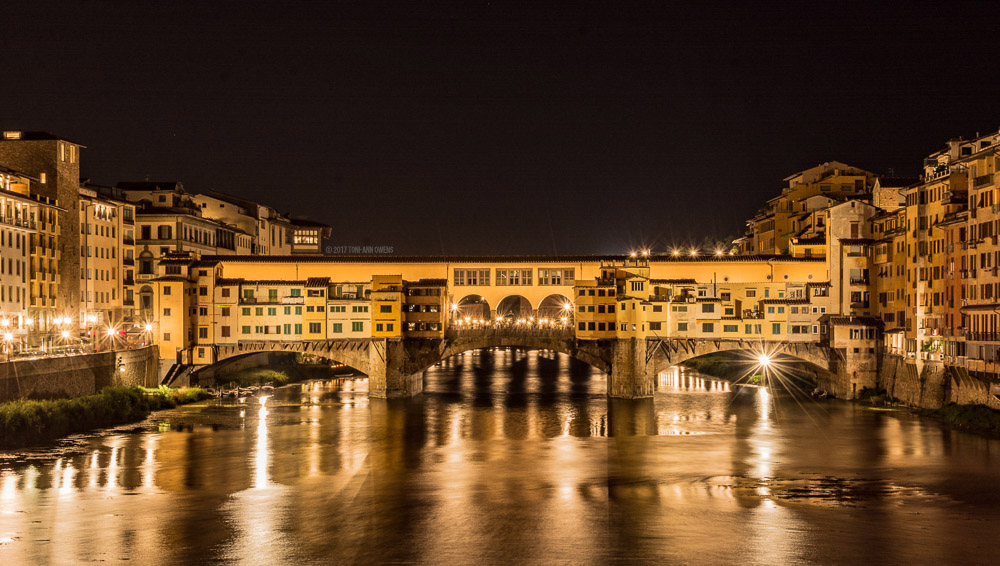Ponte Vecchio Bridge at Night in Florence, Italy