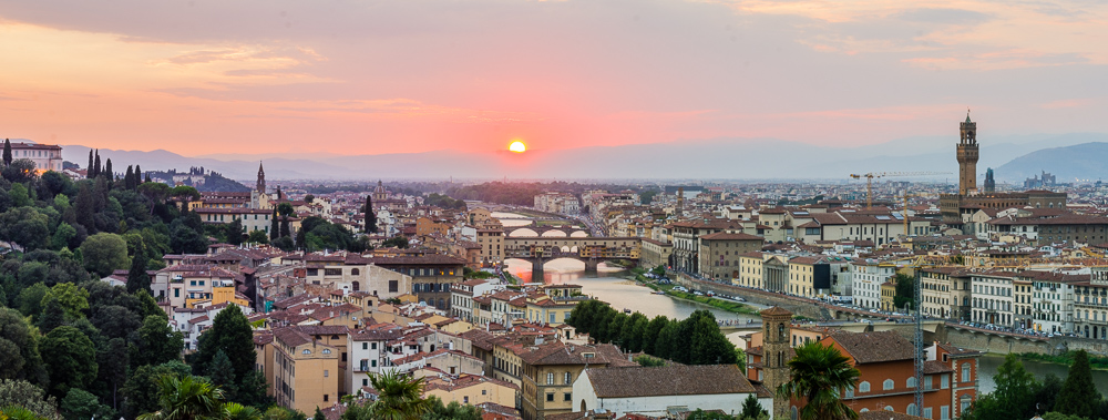 The City of Florence, Italy at Dusk