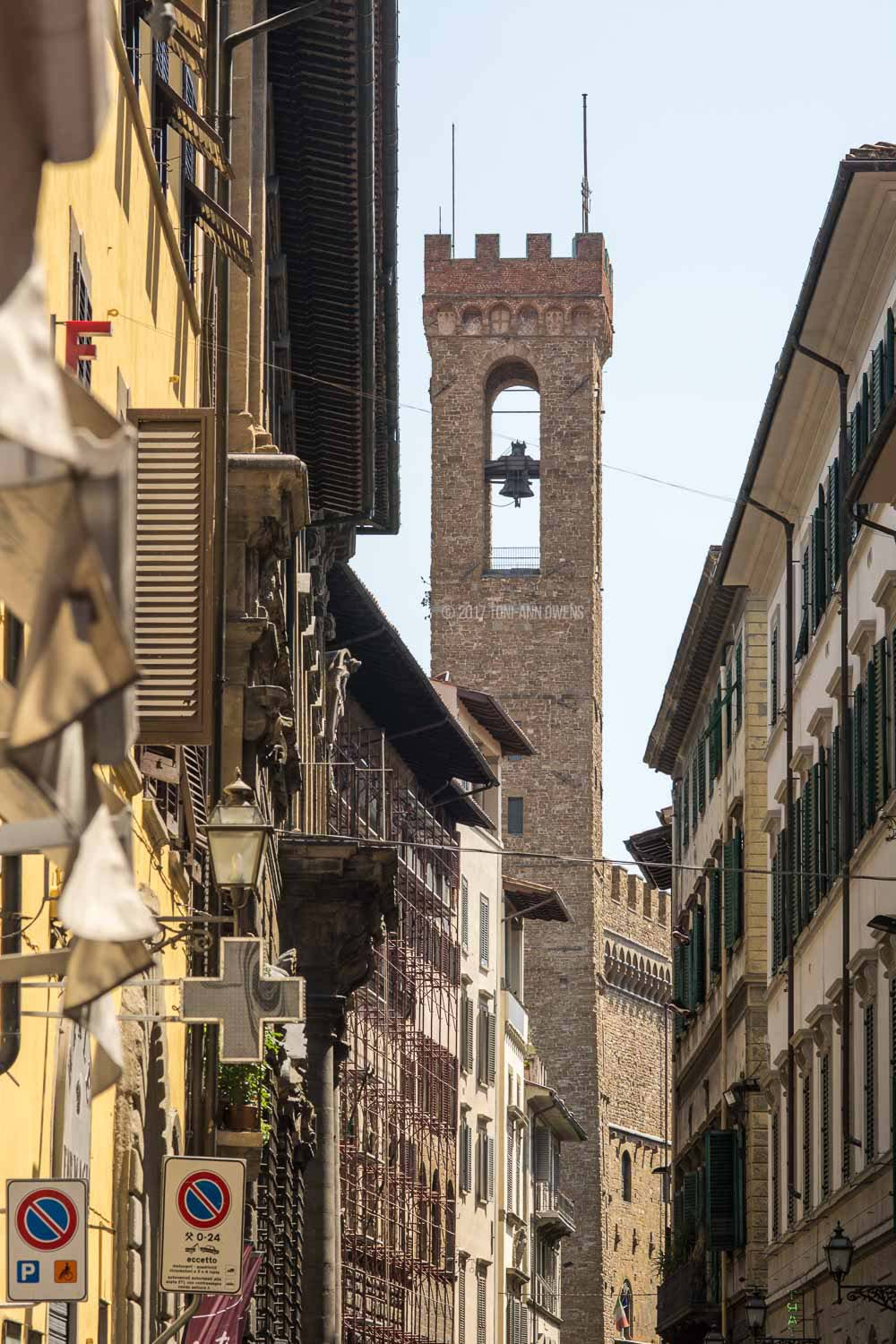 View of the Tower of Palazza Vecchio in Florence, Italy