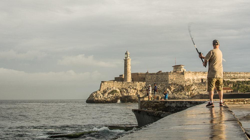 Fishing at the Malecón in Havana Cuba