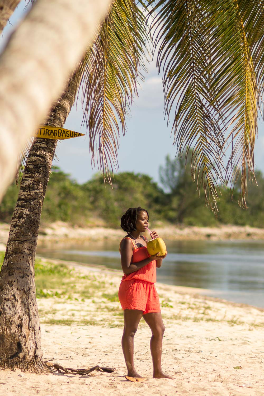 Enjoying a Cold Coconut at Playa Coco in Playa Girón Cuba