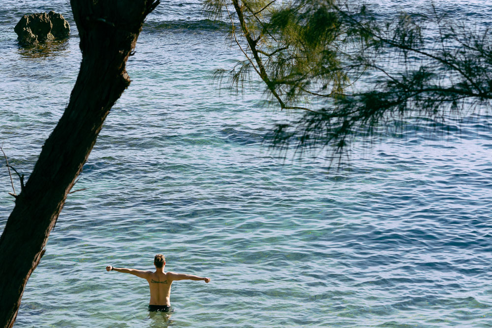 Jerry enjoying a morning swim at one of the private beaches at Strawberry Fields Together in Jamaica