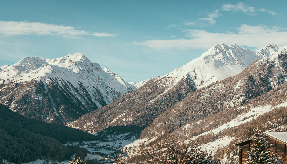 View of the Swiss Alps from Guarda Lodge in Engadin Switzerland