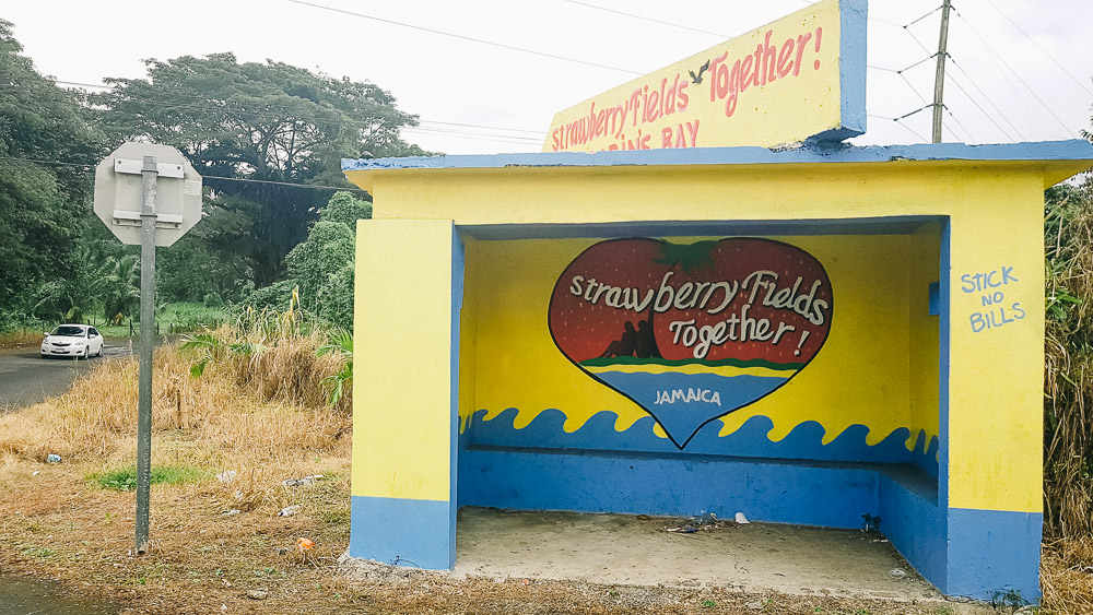 Strawberry Fields Together bus stop in Jamaica