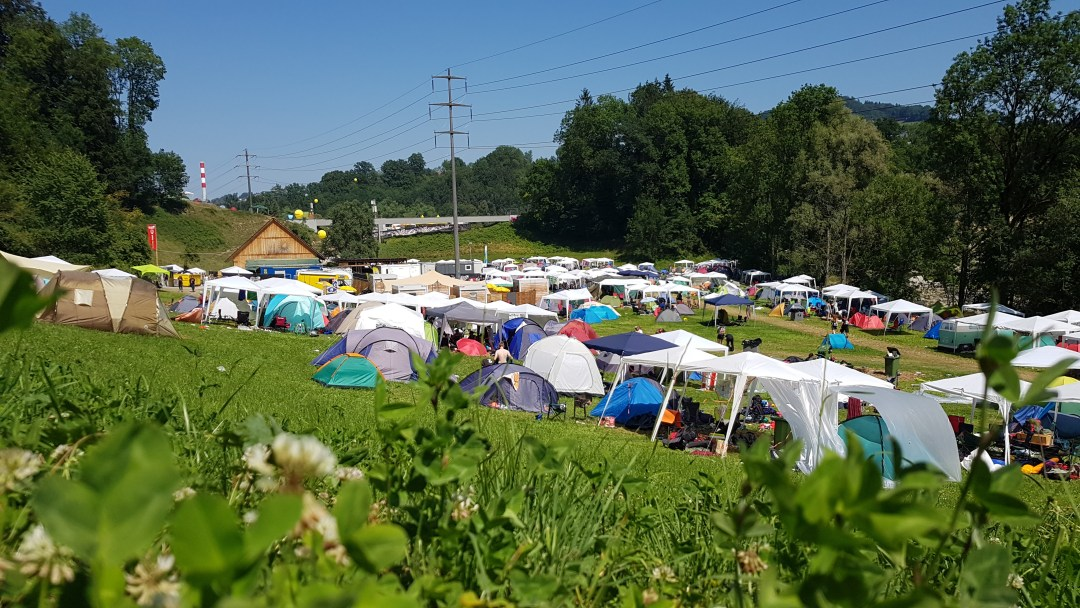Camping ground at a Summer Music Festival in Switzerland