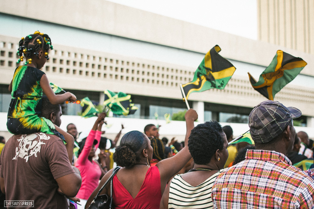Jamaican flags at the annual Independence day