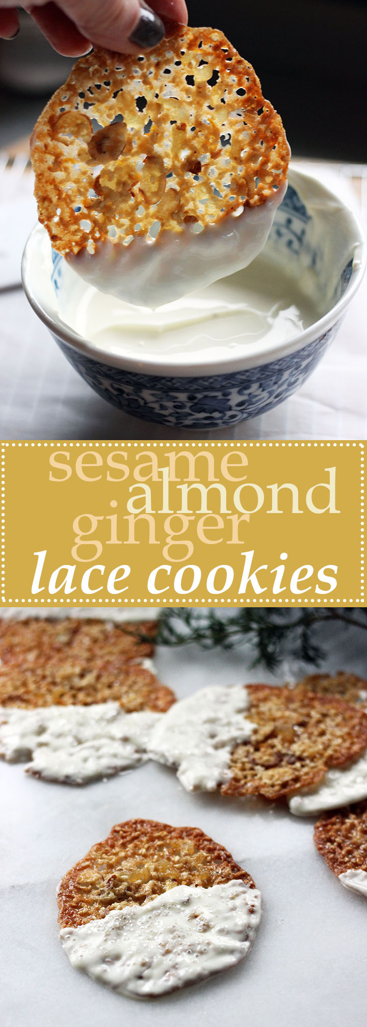 Sesame Almond Ginger Lace Cookies (GF)   www.thetableofcontents.co